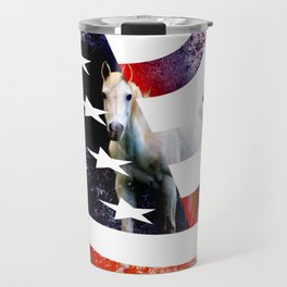 White Horse And American Flag By Annie Zeno Travel Mug
