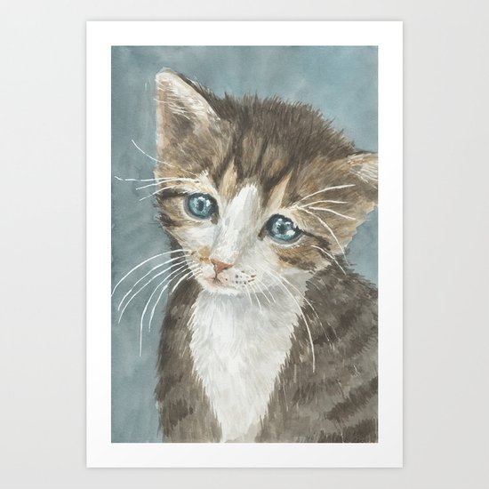 Kitten, watercolor potrait Art Print