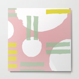 Mid-Century Modern in Pink, Mint and Mustard Pattern Metal Print