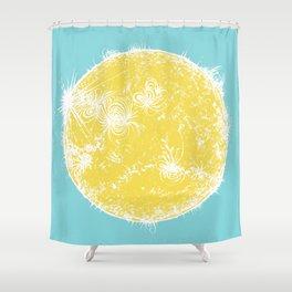 Large Sun Print, blue & yellow solar design by Little Lark Shower Curtain