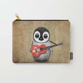 Baby Penguin Playing Swiss Flag Guitar Carry-All Pouch