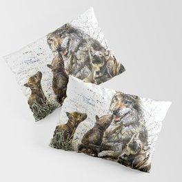 Good Morning wolf family watercolor Pillow Sham