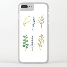 Watercolor and Ink Wildflowers and Eucalyptus Design Clear iPhone Case