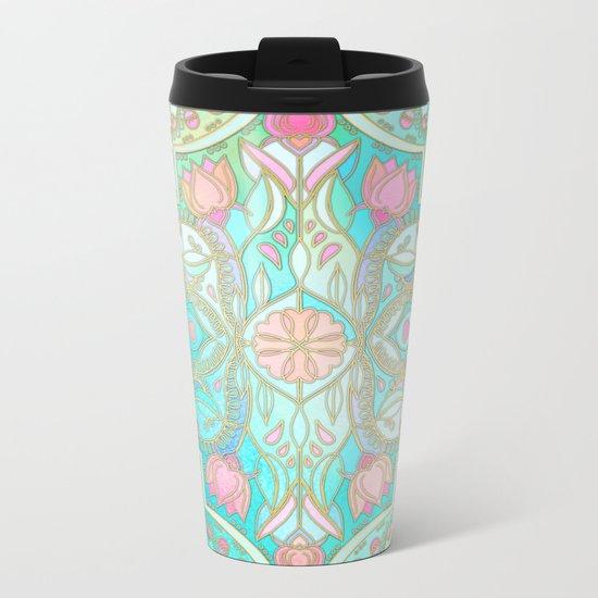 Floral Moroccan in Spring Pastels - Aqua, Pink, Mint & Peach Metal Travel Mug