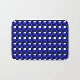 Sapphire Sea Blocks, Checkered Pattern - Blue Bath Mat