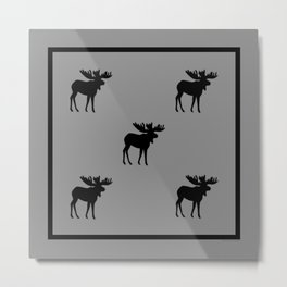 Bull Moose Silhouette - Black on Gray Metal Print