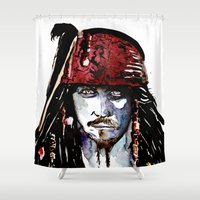 johnny depp Shower Curtains featuring Captain Jack Sparrow - Johnny Depp Watercolor by Siriusreno