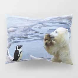 Cute Polar Bear Cub & Penguin Pillow Sham
