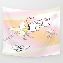 Butterfly Pollinating  Wall Tapestry