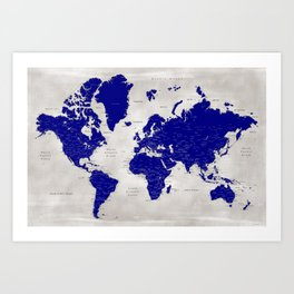 """Navy blue and grey detailed world map, """"Delaney"""" Art Print"""