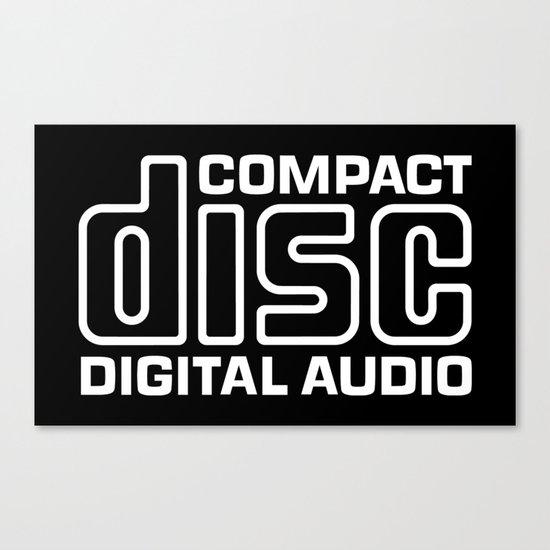 compact disk digital audio logo - white canvas printnolan