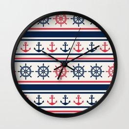 Blue Pink Sea Navy Pattern Wall Clock