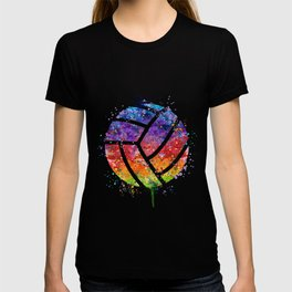 Volleyball Ball Colorful Watercolor Art Sports Gift T-shirt