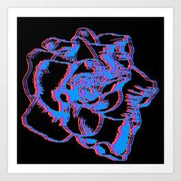 Glitch gardenia - primaries (black) Art Print