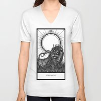 tarot V-neck T-shirts featuring Strength Tarot by Corinne Elyse