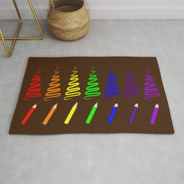 Rainbow Pencil Coloring Trees Rug