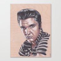 elvis presley Canvas Prints featuring Elvis Presley by bdevennyart