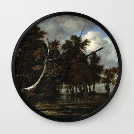 Jacob van Ruisdael - Oaks at a lake with Water Lilies Wall Clock