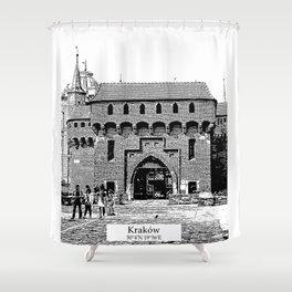 Krakow minimal city #cracow #krakow Shower Curtain