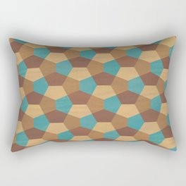 Geometric Marquetry brown and turquoise tones Rectangular Pillow