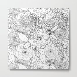 Elegant Black White Roses and Marigold Flowers Design Metal Print