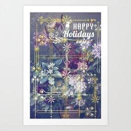 Stylish Vintage Happy Holidays Art Print