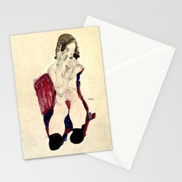 Egon Schiele - Seated Girl with Black Stockings and Folded Hands Stationery Cards