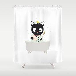 Bathing Cat in a bathtub Shower Curtain