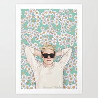 coconutwishes Art Prints featuring Niall daisies field by Coconut Wishes
