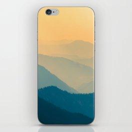 Beautiful Sunset Mountain Landscape Twilight Pastel Hues Blue Teal Yellow Orange iPhone Skin