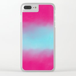 Artistic abstract magenta pink teal watercolor Clear iPhone Case