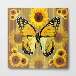 NUT & PUTTY COLORED YELLOW SUNFLOWERS ART Metal Print