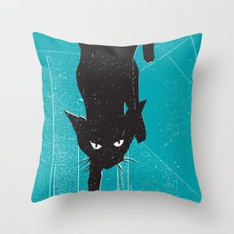 Black Kat Throw Pillow
