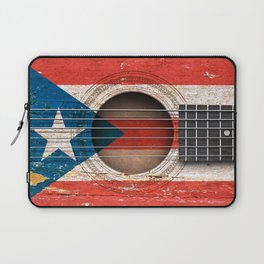 Old Vintage Acoustic Guitar with Puerto Rican Flag Laptop Sleeve