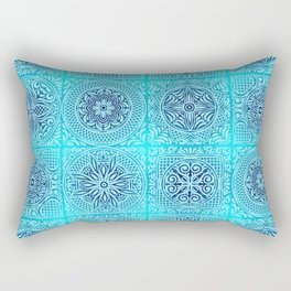 traditional navy turquoise aqua blue bohemian pattern Rectangular Pillow