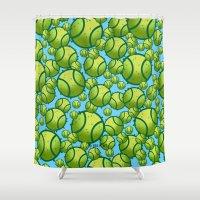 tennis Shower Curtains featuring Tennis by joanfriends