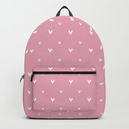 Small sketchy white hearts pattern on pink background Backpack