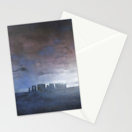 Stonehenge monolithic ruins in the UK countryside at sunset.  Stonehenge artwork fine art painting Stationery Cards