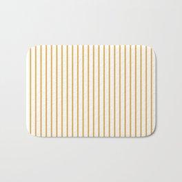 Marigold Yellow Pinstripe on White Bath Mat