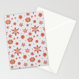 Cats on  red-orange flowers Stationery Cards
