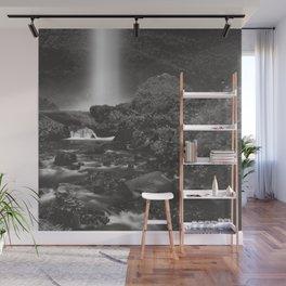 Latourell Falls Waterfall II - Black and White Wall Mural