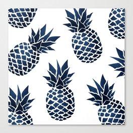 Pineapple Blue Denim Canvas Print