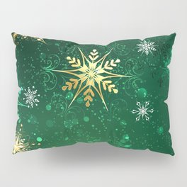 Gold Snowflakes on a Green Background Pillow Sham