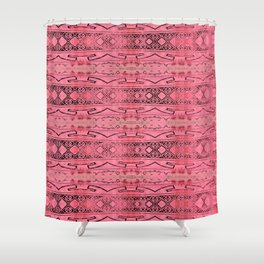 Vintage Tribal Distressed Coral Pink Shower Curtain