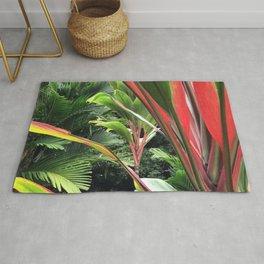 Hawaiian Wild Garden in the Jungle Rainforest Rug