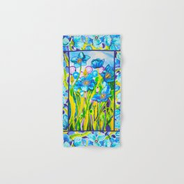 Blue Poppies 2 with Border Hand & Bath Towel