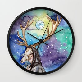 witchy moon Wall Clock