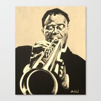 louis armstrong Canvas Prints featuring Louis Armstrong by Anthony Bordelon