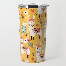 White Llama with flowers Travel Mug
