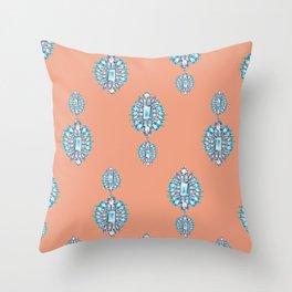 Jewelbox: Aquamarine Brooch on Coral Spice Throw Pillow